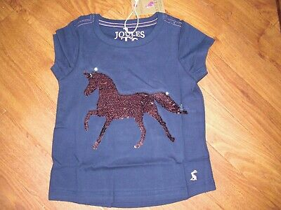 Bnwt Joules Girls Astra Navy Sequin Horse T-Shirt Top Age 3 Yrs.rrp £19.95
