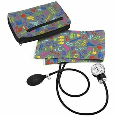 Premium Aneroid Sphygmomanometer With Carry Case, Medical Symbols Pewter Health