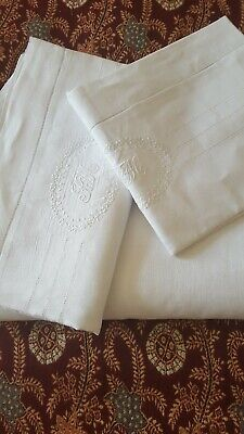 Vintage Amazing Quality Single Bed Set Sheet +2 Std Pillowcases Embroidered *Rm*
