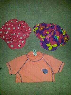 Girls summer holidays neck hats and sports top bundle (5-6years)