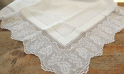 Antique White Hand Embroidered Tablecloth With Crochet Lace Edging - Grapes