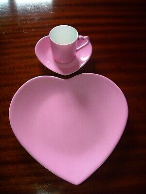 Philippe Deshoulieres LIMOGES PINK HEART COFFEE trio cup saucer teaplate HARRODS