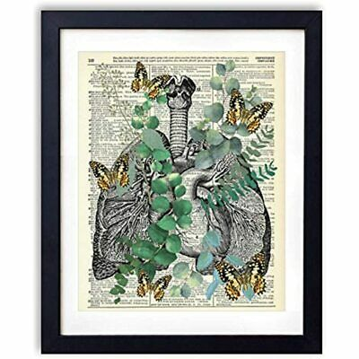 Heart And Lungs With Eucalyptus Butterflies, Vintage Dictionary Art Print, Wall