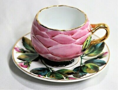 Antique Portuguese Vista Alegre Flowers Motif Porcelain Tea Cup & Saucer