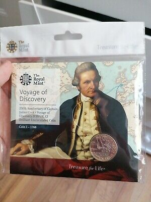 2018 Royal Mint British Captain James Cook £2 Two Pound Coin Pack Sealed