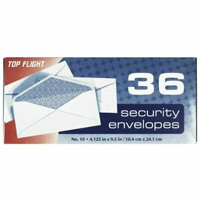 Boxed Number 10 Security Envelopes, 4.125 9.5 Inches, White With Lining, 36 Per