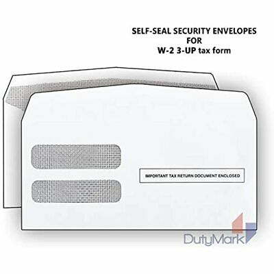W-2 Tax Envelopes For 3-Up Horizontal, Double Window Self-Seal Security Forms Of