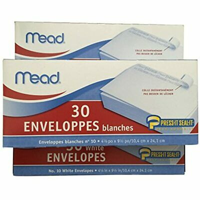 10 Envelopes, Press-it Seal-it, White, 30/box, Pack Office Products FREE