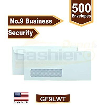 Cashier Depot No. 9 Security Business Envelopes With Left Window, 3 7/8 X 7/8,