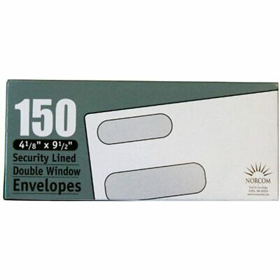 Security Lined Envelope With Double Windows, 4.125 X 9.5 Inches, 150 Envelopes