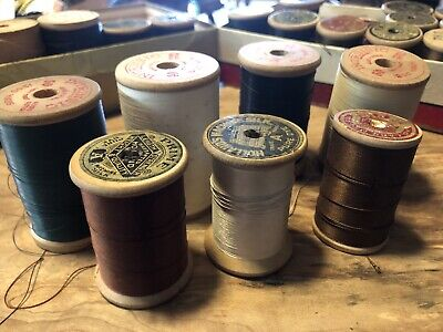 Vintage Wooden Spools of Thread Lot of (7) American Thread Co & Holland Mfg.