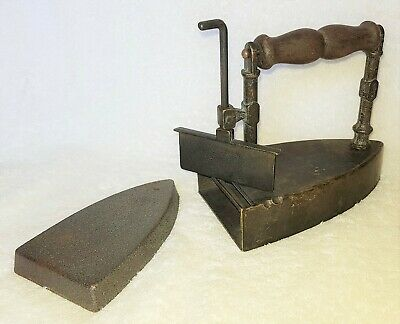 Antique / Vintage 6 Inch Box Iron - Wooden Handle, Lift Up Door and Metal Slug