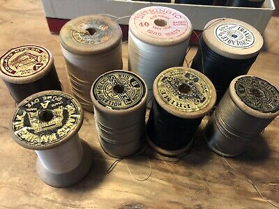Vintage Wooden Spools of Thread Lot of (8) American Thread Co Holland Prime