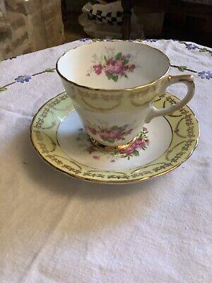 Pretty Vintage Regency  Cup And Saucer Lemon With Florals