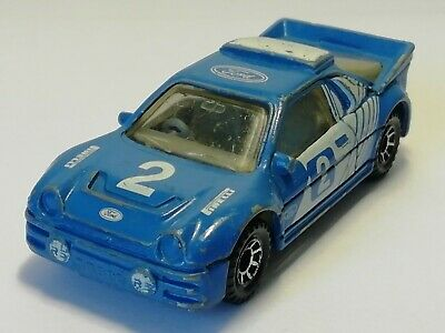 Vintage Matchbox 1:55 Ford RS200 Rally No2 Blue White 1986 Diecast Model Car
