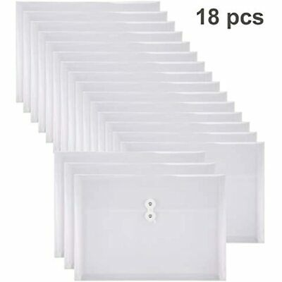 18 Packs Legal Size Poly Envelopes String Tie Closure Plastic File Folder With X