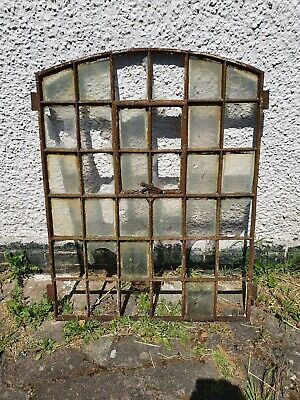 Vintage Cast Iron Arched Industrial Metal Window