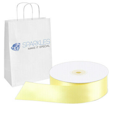 """Satin Ribbon 1.5"""" Wide 50 Yd Yard Roll - Yellow - Solid Reels Party dg"""