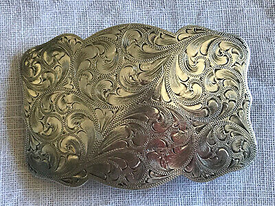 Newman's Reno Silver Shop Hand Engraved Western Sterling Silver Buckle