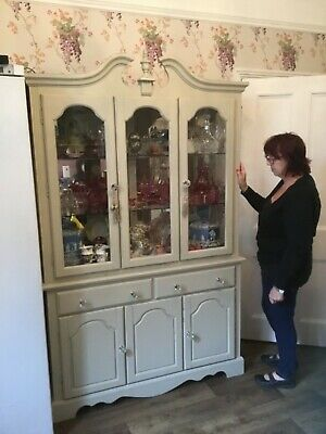 Large Shabby Chic Display Cabinet with Cupboards Below & Glazed Doors Above