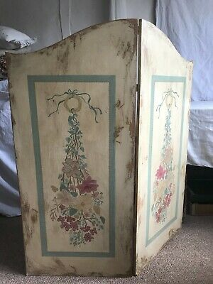 Vintage Folding Screen Painted Flowers Shabby Chic Interiors / 106 cm x 100 cm