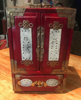 Antique Qing Dynasty Chinese Large Jewellery Box Cabinet Jade Panels Brass Bound