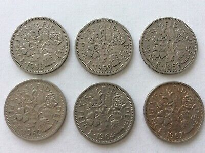 GB COLLECTION OF Six years of Six Pence 6d COINS between 1953 & 1967