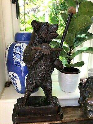 LARGE BLACK FOREST CARVED BEAR WITH DINNER GONG ANTIQUE 45cms / 17ins TALL