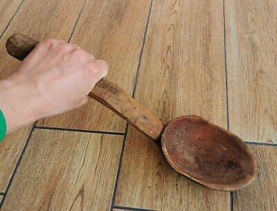 HUGE SIZE Old Antique Primitive Wooden Wood Spoon ~100 years old
