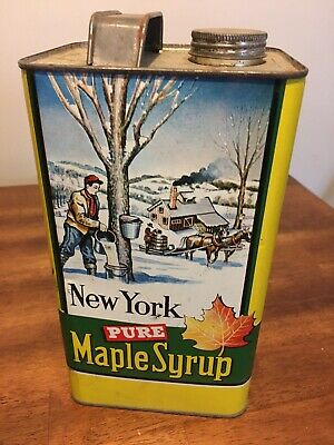 New York  Pure Maple Syrup, Empty Tin Can,  1 Gallon, , With Cap