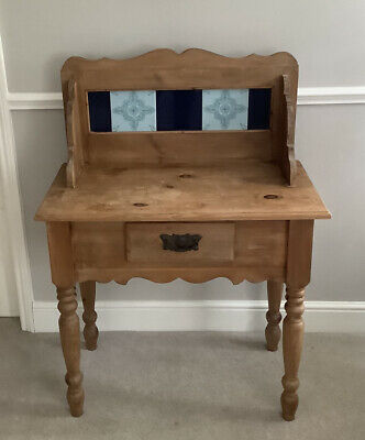 Vintage Old Rustic  Victorian Pine Wash Stand/Table With Blue Tiles