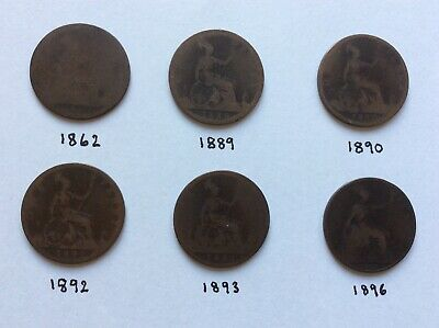 GB COLLECTION OF Six years of ONE PENNY 1d Victorian coins