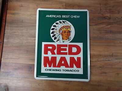 """VINTAGE 1960's NOS RED MAN CHEWING TOBACCO METAL SIGN 16"""" X 12"""" EMBOSSED (sa)"""