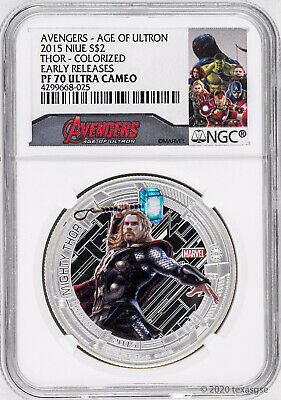 2015 Niue $2 Marvel's Avengers Thor 1oz Silver Proof Coin NGC PF70-Early Release