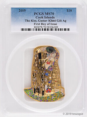 2019 $10 Cook Islands Klimt 2oz Gilded Silver Coin PCGS MS70 - FDI