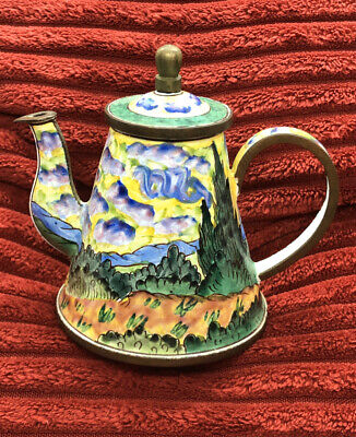 "KELVIN CHEN ""Wheatfields"" by VAN GOGH  Hand-painted Enamel on Copper Mini Teapot"