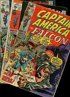 Captain America 136,137,138 * 3 Book Lot * Marvel Comics! Steve Rogers! Vol.1!