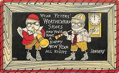 c1908 Advertising Postcard; Funny Dressed Birds, Peter's Weatherbird Shoes MB Co