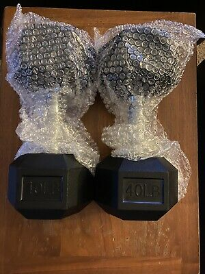 CAP 40 LB Dumbbell Pair Rubber Coated Hex Dumbbells Weights Set of 2 - New
