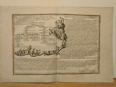 1701 De Fer: Chart of Royal Lineage and Alliances of Spain and Germany