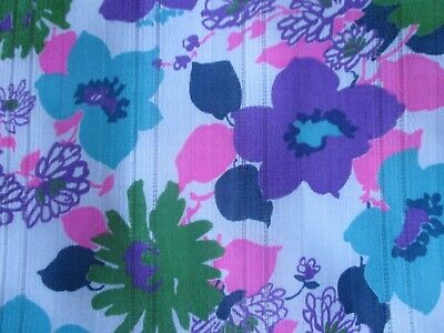 Vtg. Dimity Floral Fabric Bold Bright Flowers  Pink Purple Open Weave 1 yd 30 ""