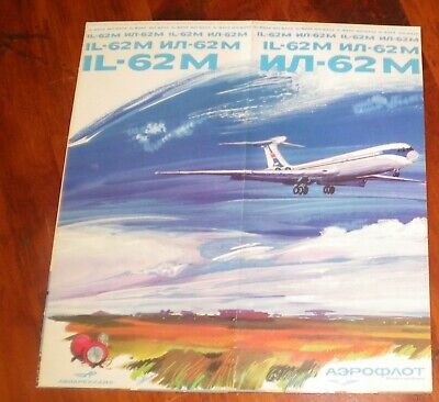 AEROFLOT IL-62 VINTAGE AIRCRAFT TYPE BROCHURE. FOLD-OUT 12 PAGES. 1970's.