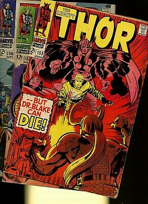 Thor 153,155,156 * 3 Book Lot * Marvel Comics! Mighty God of Thunder! Vol.1!