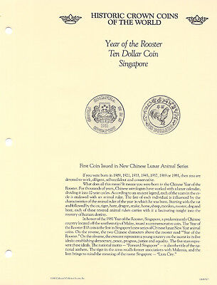 Historic Coins of the World Singapore 10 Dollars 1981 UNC Year of the Rooster*