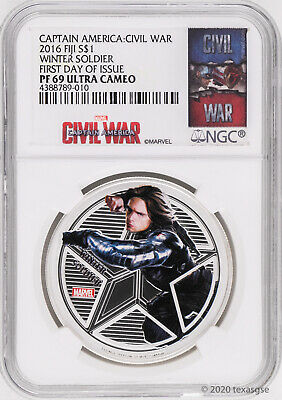 2016 Fiji $1 Marvel's Avengers Winter Soldier 1oz Silver Proof Coin NGC PF69-FDI