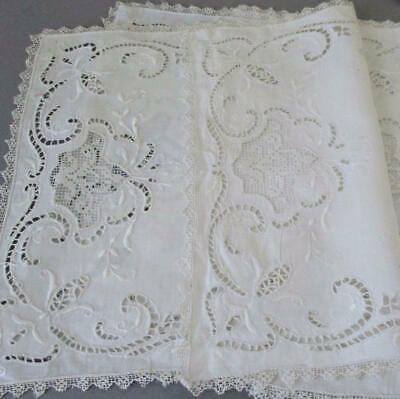 6 Antique Italian Whitework LINEN + LACE Placemats Hand Embroidery Cutwork FILET
