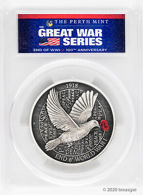 2018-P Australia End of WWI 100th Anniversary 5oz Antique Silver Coin PCGS MS69