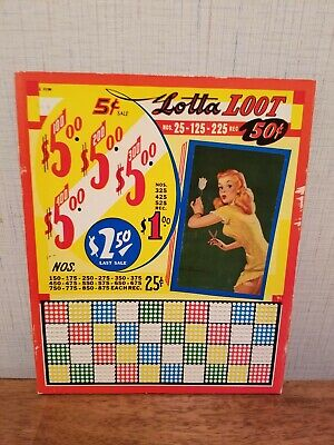 Vintage Punchboard Lotta Loot Pin Up Girl Unused Vibrant Colors Excellent