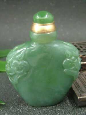 Chinese Antique Celadon Nephrite Hetian-OLD Jade double-LION statue Snuff bottle