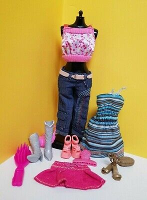 Barbie Doll casual Clothes Sets + Shoes Boots Handbags & Hair Accessories